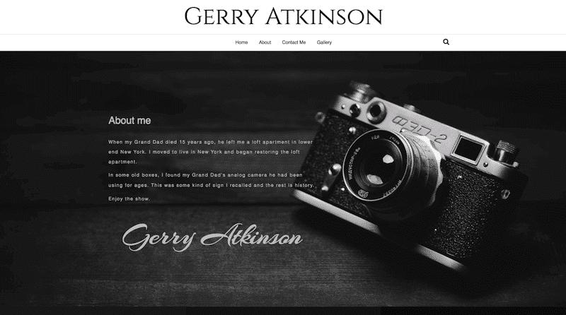 photographers demo website