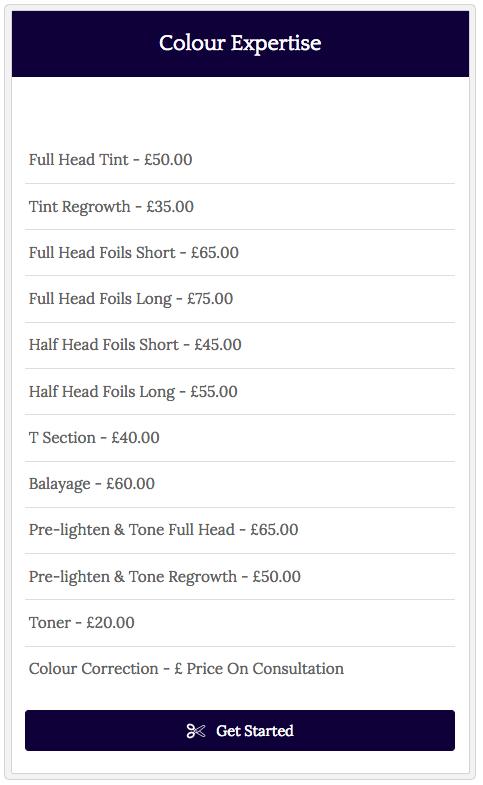 Salon pricing table